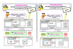 Identifier et tracer des quadrilatères - Fiches le rectangle et le carré au  - Cours, Leçon : 2eme Primaire