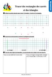 Exercices, révisions sur tracer des rectangles, des carrés et des triangles au  avec les corrections : 2eme Primaire