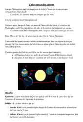 Alternance des saisons - Cours, Leçon - Sciences : 3eme, 4eme Primaire