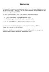 Marées - Cours, Leçon - Sciences : 4eme, 5eme Primaire