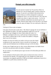 Pompei - Lecture et questions - Sciences : 5eme Primaire