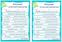 Homophones grammaticaux (ce - se/c'est - s'est/ces - ses) - Rituels - Orthographe : 4eme, 5eme Primaire