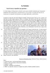 La fontaine - Désespoir et folie d'Yvain - Récit - Lecture : 1ere Secondaire