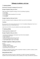 Fiche - Expérience- Fiches Mélanges et solutions (sel et eau) : 3eme Primaire
