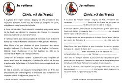 Clovis et le royaume des francs - Cours, Leçon : 4eme Primaire