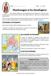 Charlemagne et les carolingiens - Exercices - Documentaire : 4eme Primaire