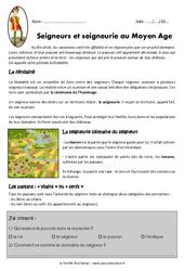Seigneurs et seigneurie - Exercices - Documentaire : 4eme Primaire