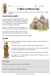 Eglise au Moyen Age - Exercices - Documentaire : 4eme Primaire