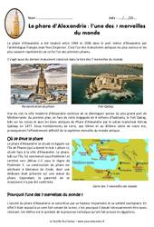 Le phare d'Alexandrie - Exercices - Documentaire : 4eme Primaire