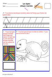 Lignes obliques inversées - Fichier graphisme : 1ere, 2eme, 3eme Maternelle - Cycle Fondamental