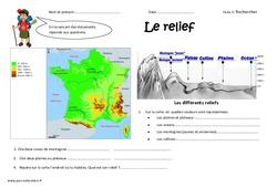 Reliefs - Exercices - Découvrir les lieux où j'habite : 4eme Primaire