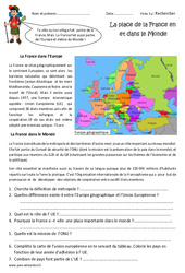 La place de la France dans l'Europe et le monde - Exercices : 4eme Primaire