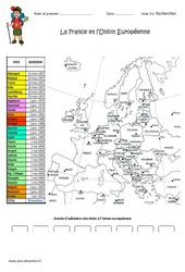 La France et l'Union Européenne - Exercices : 4eme Primaire