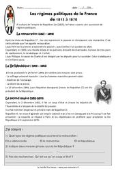 Régimes politiques de la France de 1815 à 1870 - Exercices : 5eme Primaire