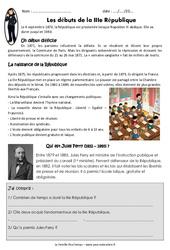 Débuts de la IIIème république - Exercices : 5eme Primaire