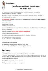 Régimes politiques de la France de 1815 à 1870 - Cours, Leçon : 5eme Primaire