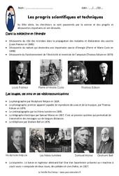 Progrès scientifiques et techniques au XIXe siècle - Exercices : 5eme Primaire