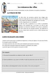 Croissance des villes - Exercices : 5eme Primaire