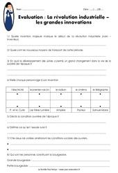 Révolution industrielle - Innovations - Société - Examen Evaluation : 5eme Primaire