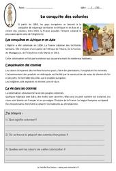 Conquête des colonies - Exercices : 5eme Primaire