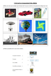 L'air met en mouvement des objets - Exercices - Sciences : 4eme, 5eme Primaire