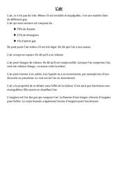 L'air - Cours, Leçon - Sciences : 4eme, 5eme Primaire