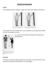Vertical et horizontal - Cours, Leçon - Sciences : 4eme, 5eme Primaire
