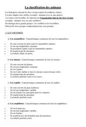 Classification des animaux - Cours, Leçon - Sciences : 4eme Primaire