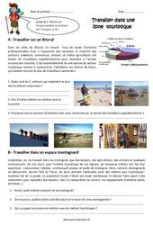 Travailler dans une zone touristique - Exercices : 4eme Primaire