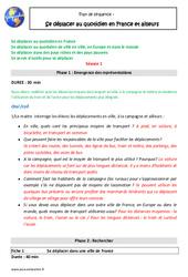 Se déplacer au quotidien en France et ailleurs - Fiche de préparation - Séquence : 5eme Primaire