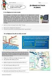 Se déplacer en France  et ailleurs - Exercices : 5eme Primaire