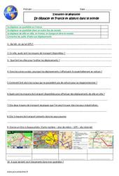 Se déplacer en France et ailleurs dans le monde - Examen Evaluation : 5eme Primaire