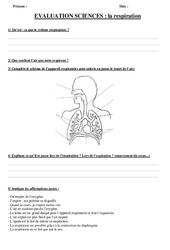 Respiration - Examen Evaluation : 3eme, 4eme, 5eme Primaire