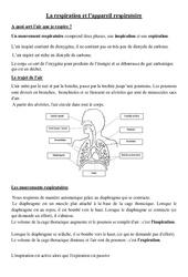 La respiration et l'appareil respiratoire - Cours, Leçon - Sciences : 4eme, 5eme Primaire