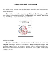 La respiration - les échanges gazeux - Cours, Leçon - Sciences : 4eme, 5eme Primaire