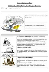 Comment préserver l'eau - Exercices - Sciences : 4eme, 5eme Primaire