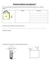 Comment allumer une ampoule - Electricité - Exercices - Sciences : 3eme, 4eme, 5eme Primaire