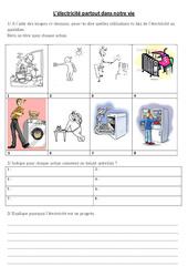L'électricité au quotidien - Exercices - Sciences : 3eme, 4eme, 5eme Primaire