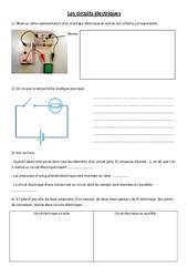 Circuits électriques - Exercices - Sciences : 3eme, 4eme, 5eme Primaire