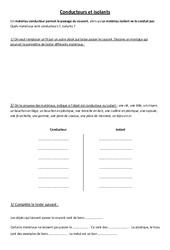 Conducteurs et isolants - Electricité - Exercices - Sciences : 3eme, 4eme, 5eme Primaire