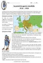1ère guerre mondiale 1914 - 1918 - Exercices : 5eme Primaire