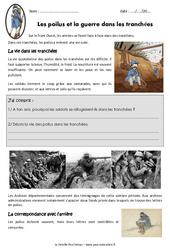 Les poilus et la guerre dans les tranchées - Exercices : 5eme Primaire