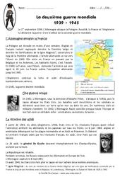2ème guerre mondiale 1939 - 1945 - Exercices : 5eme Primaire