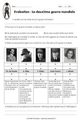 2ème guerre mondiale 1939 - 1945 - Examen Evaluation : 5eme Primaire