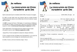 Construction de l'Union européenne - Cours, Leçon : 5eme Primaire
