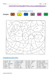 N ou M devant M, P , B - Coloriage magique : 3eme, 4eme Primaire
