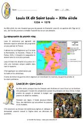 Louis IX - Saint Louis - Exercices : 4eme Primaire
