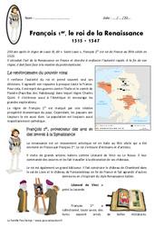 François 1er, le roi de la Renaissance 1515 - 1547 - Exercices : 4eme Primaire