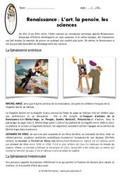 Renaissance - Fiches L'art, la pensée, les sciences - Exercices : 4eme Primaire