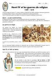 Henri IV et les guerres de religion 1589 - 1610 - Exercices : 4eme Primaire